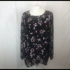J. Jill Black with floral long sleeve blouse.